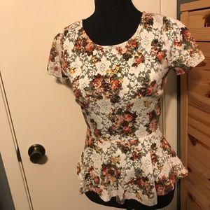 Floral lace peplum blouse